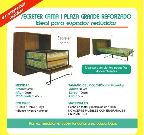 cama 1 plaza grande secreter reforzado pintumm