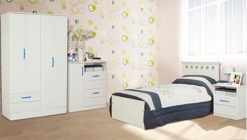 cama 1 plaza juvenil c/ chifonier 5 cajones dormitorio