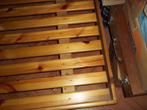 cama 1 plaza madera lustrada