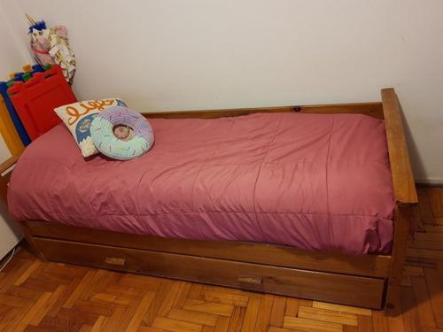 cama 1 plaza madera paraiso macizo. con carro. sin envíos