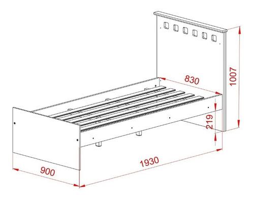 cama 1 plaza + mesa de luz 2 cajones + chifonier 5 cajones