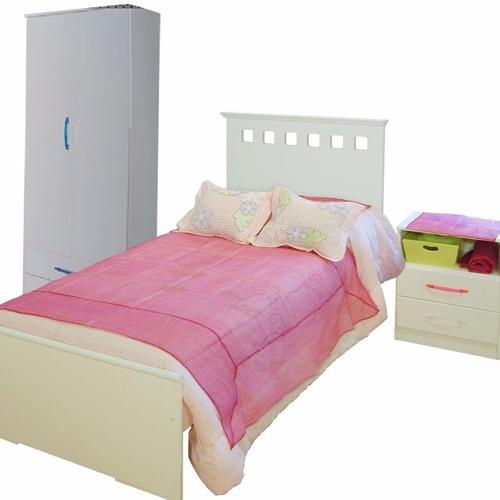 cama 1 plaza + mesa de luz 2 cajones + placard 2 puertas