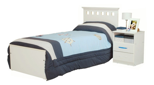 cama 1 plaza + mesa de luz 2 cajones + placard 5 puertas