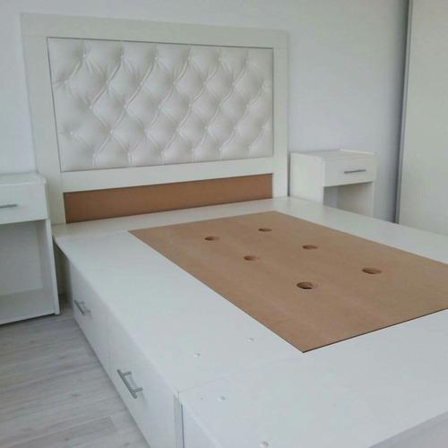 cama 180 x 200 color blanco con 7 cajones
