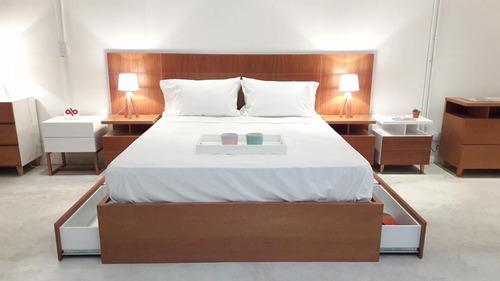 cama 2 plazas con cajonera laqueada forbidan muebles