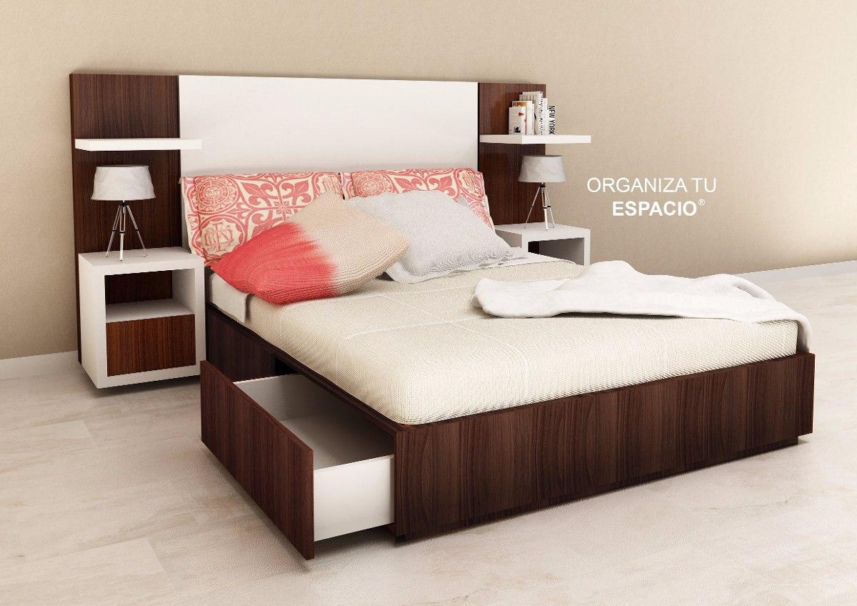 Cama 2 Plazas + Respaldo + Cajones + M. De Luz + Ote Muebles ...