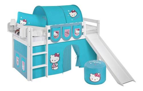 cama alta 1 plaza infantil divertida tobogán carpa túnel