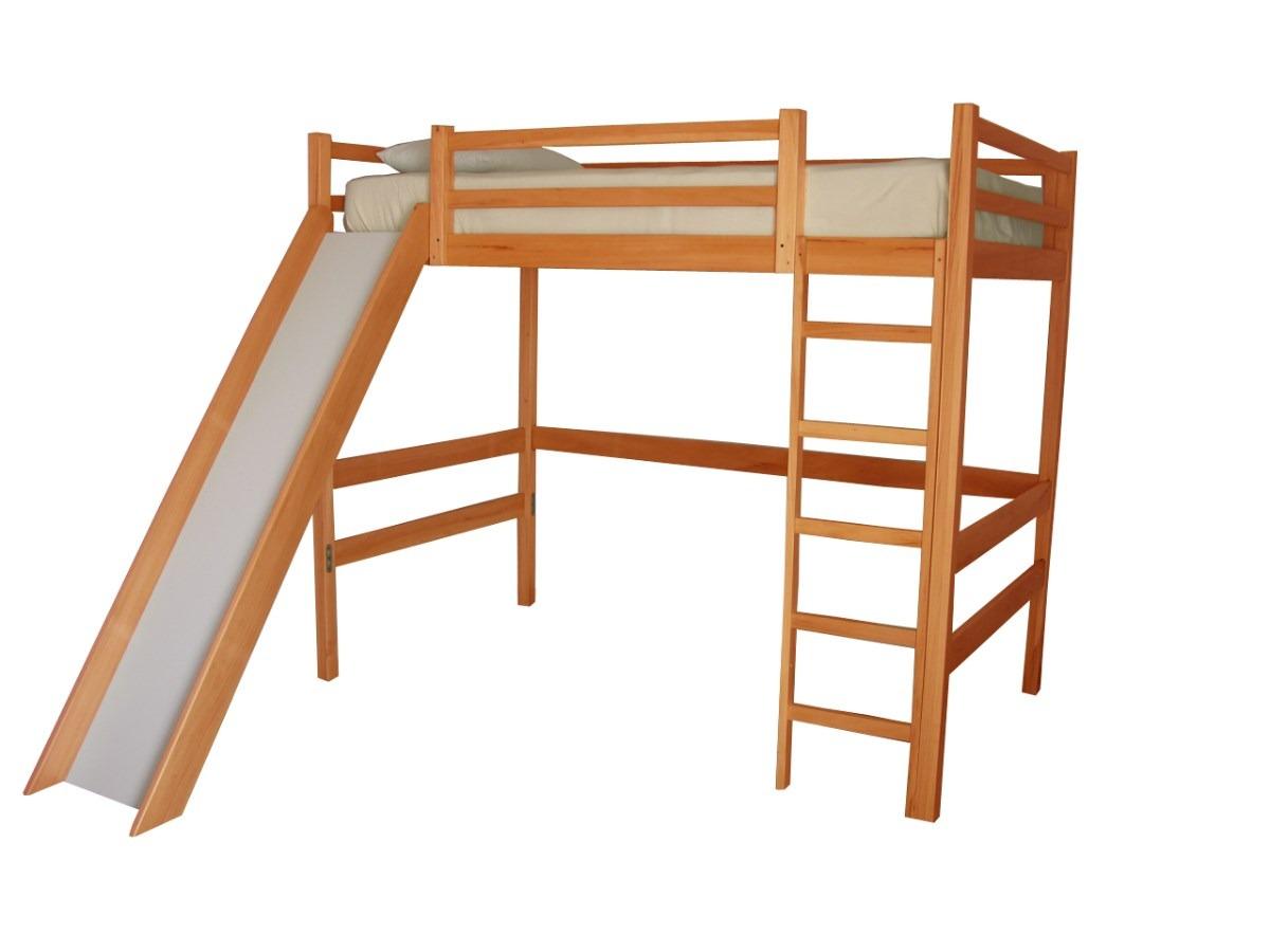 Cama alta con resbaladilla en madera de pino certificada - Hacer una cama de madera ...