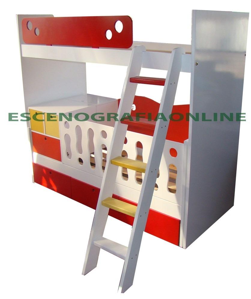 cama alta desplazada carmario mas cuna funcional y escalera
