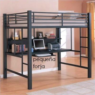 Cama alta loft reforzada cama estudio de hierro escritorio en mercado libre - Cama alta con escritorio ...