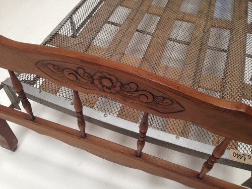 cama antigua 1 una plaza elástico y respaldo de madera (703)