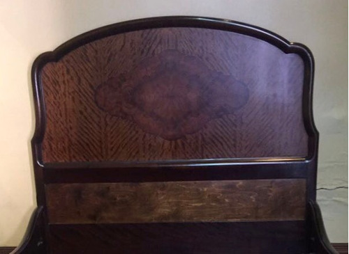 cama antigua de raiz de nogal macizo - oportunidad!  oferta