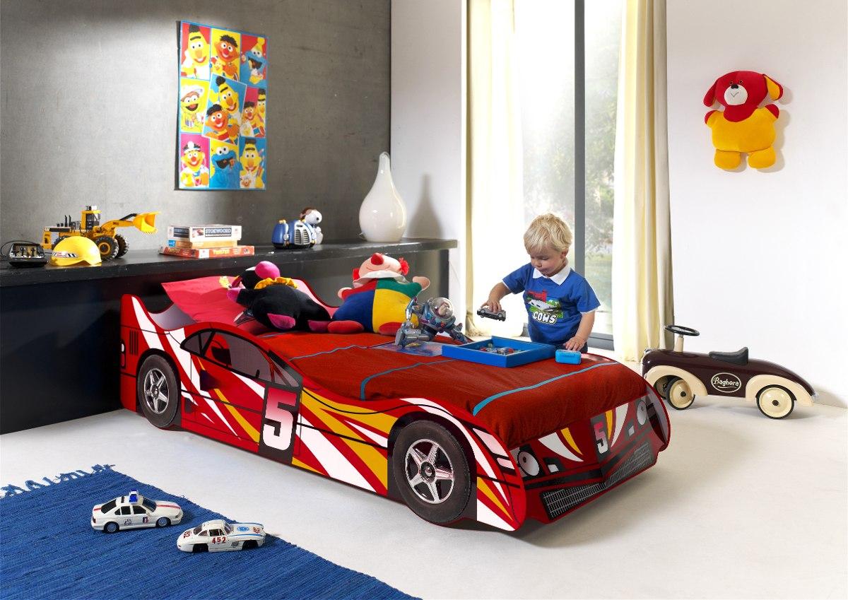 Cama auto de ni o de 1 plaza color rojo ikean 209 for Ofertas de camas 1 plaza