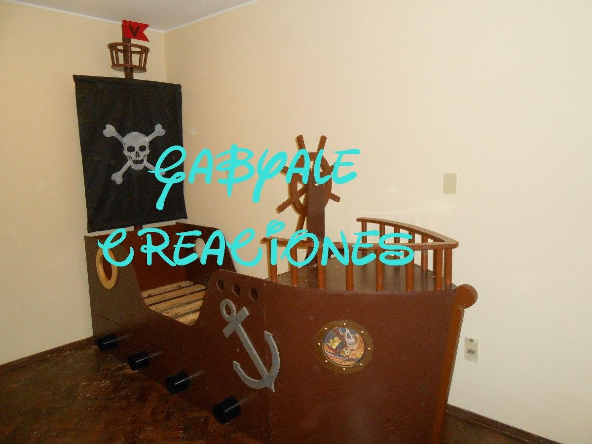 Cama barco pirata con mastil vela timon proa unica - Cama barco pirata ...