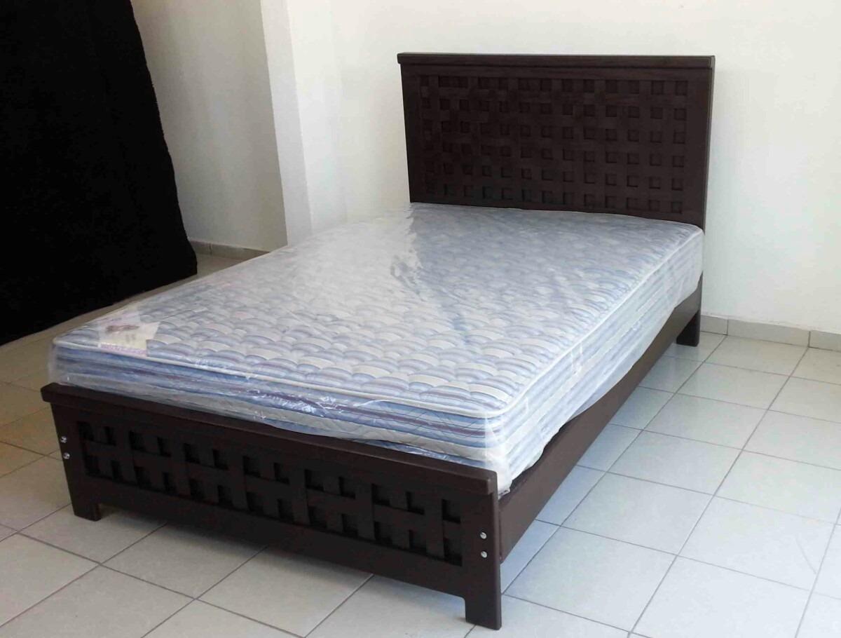 Cama base cabecera piecera y colchon recamara individual for Colchones para cama matrimonial