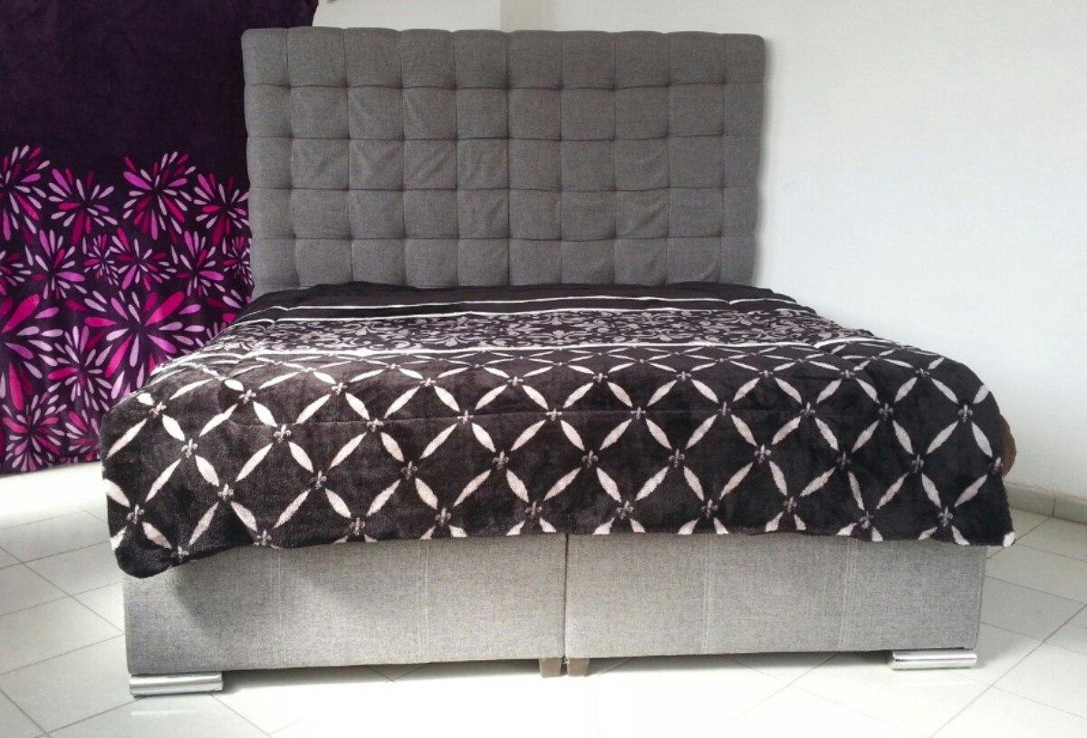 Cama gris base y cabecera de recamara lirio tapiz lino - Telas para cabeceros de cama ...