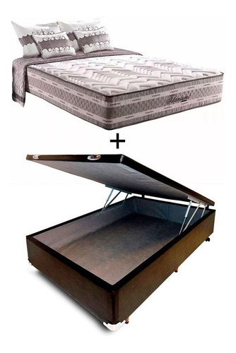 cama baúl + colchón resortes pocket super firme 2 plazas
