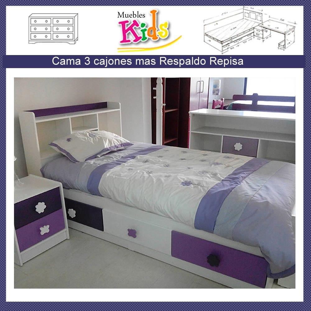 Cama Baul Infantil 3 Cajones Ni O Modelo Sofia 149 000 En  ~ Camas Infantiles Con Cajones Debajo