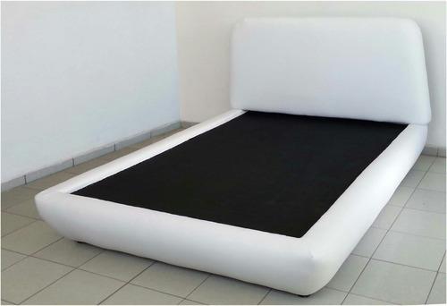cama blanca cabecera y base de recamara matrimonial