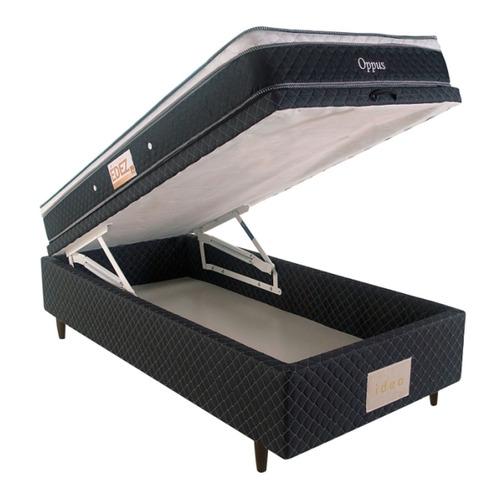 cama box baú solteiro herval + colchão solteiro oppus one