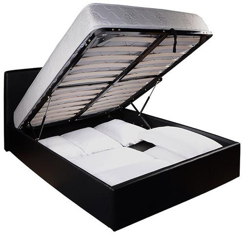 cama, box baúl 2 plazas con respaldo tapizada en p.u.