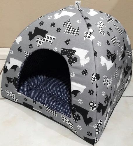 cama cachorro cães gato toca iglu 47x47x38 (com almofada)