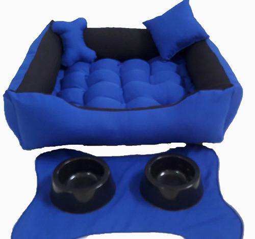 cama cachorros vai comedouro  tapetinho e bebedouro 60x60cm