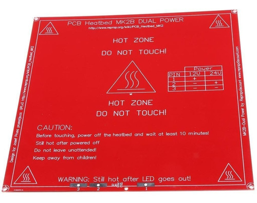 cama caliente mk2b 214x214mm impresora 3d 12/24v : printalot