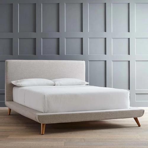 cama california cabecera individual tapizada - madera viva
