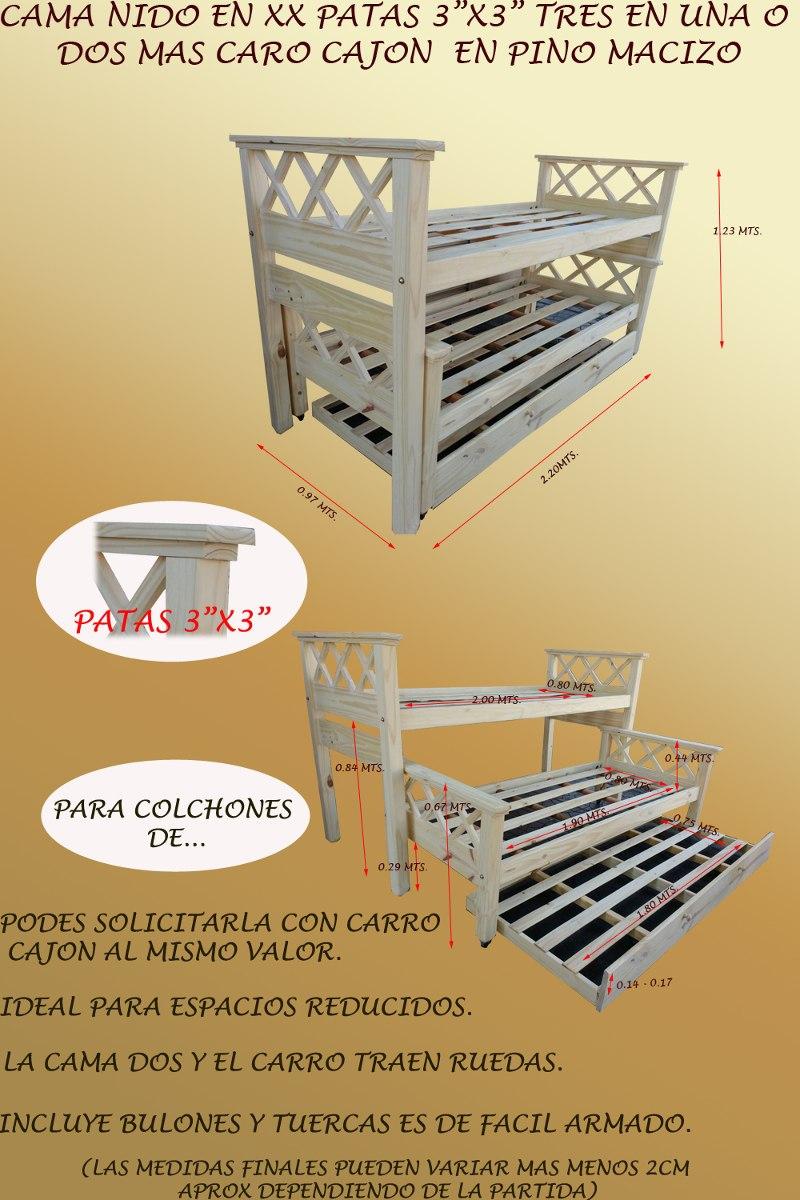 Cama Nido 3 Camas O Cajon En Pino Macizo Muebles Osiris - $ 4.200,00 ...