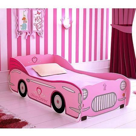 Cama camita de carro rosa para ni a infantil individual - Cama coche infantil ...