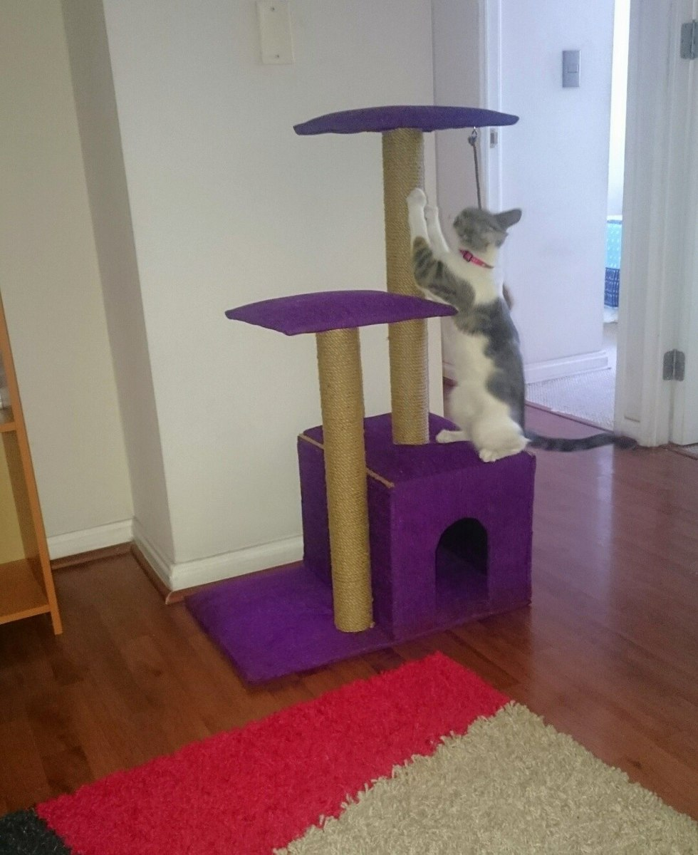 Cama casa y rascador para gatos 90 cm en - Casas para gatos baratas ...
