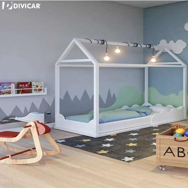 Cama casinha bebe montessoriana madeira e mdf branca r - Camas pequenas para bebes ...