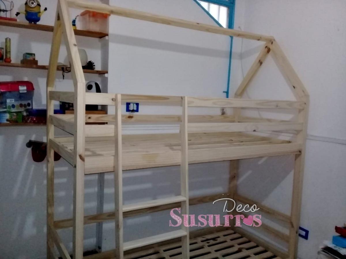 Cama Casita Litera Cucheta80x190 Pino Montessori 839900 En