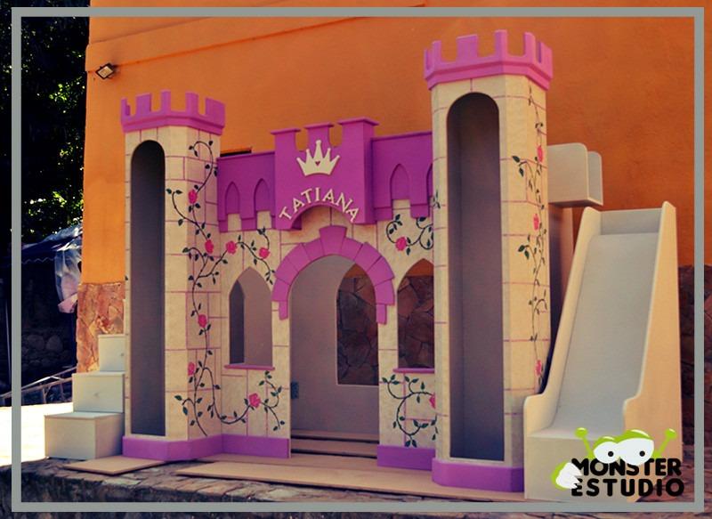 Cama castillo con area de juego escalera y tobogan ni a for Cuanto sale hacer una pileta de material 2016