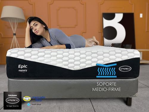 cama colchón américa con box matrimonial epic memory gel