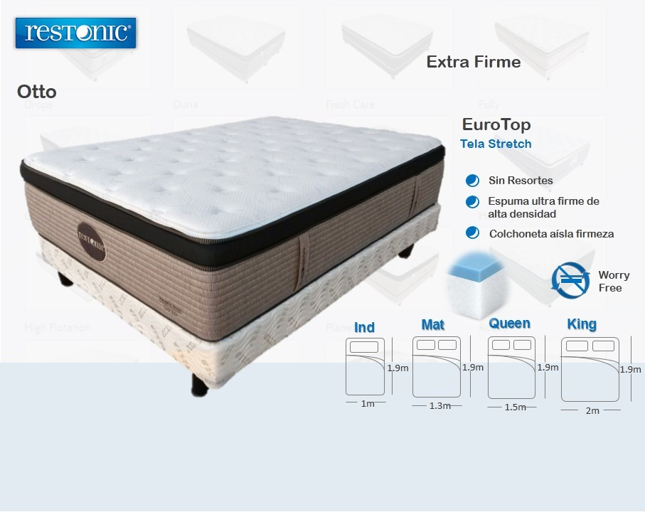 Cama soporte firme colchon con box king size restonic for Medidas queen size y king size
