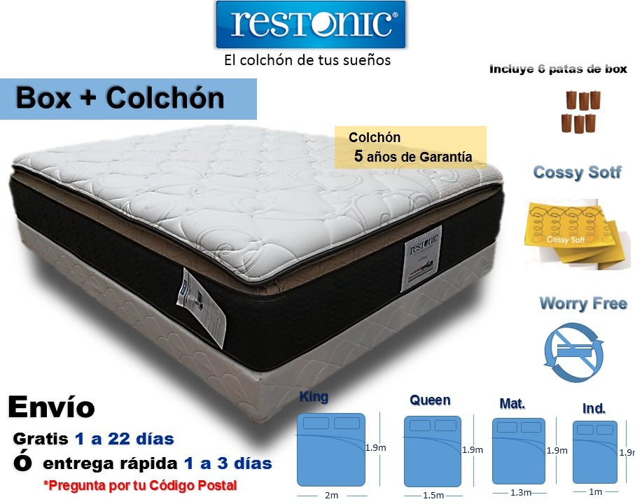 Box de cama con colch n king size env o gratis restonic for Medidas queen size y king size