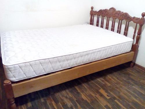 cama + colchon rosen tallado tallada madera mueble 2 plazas