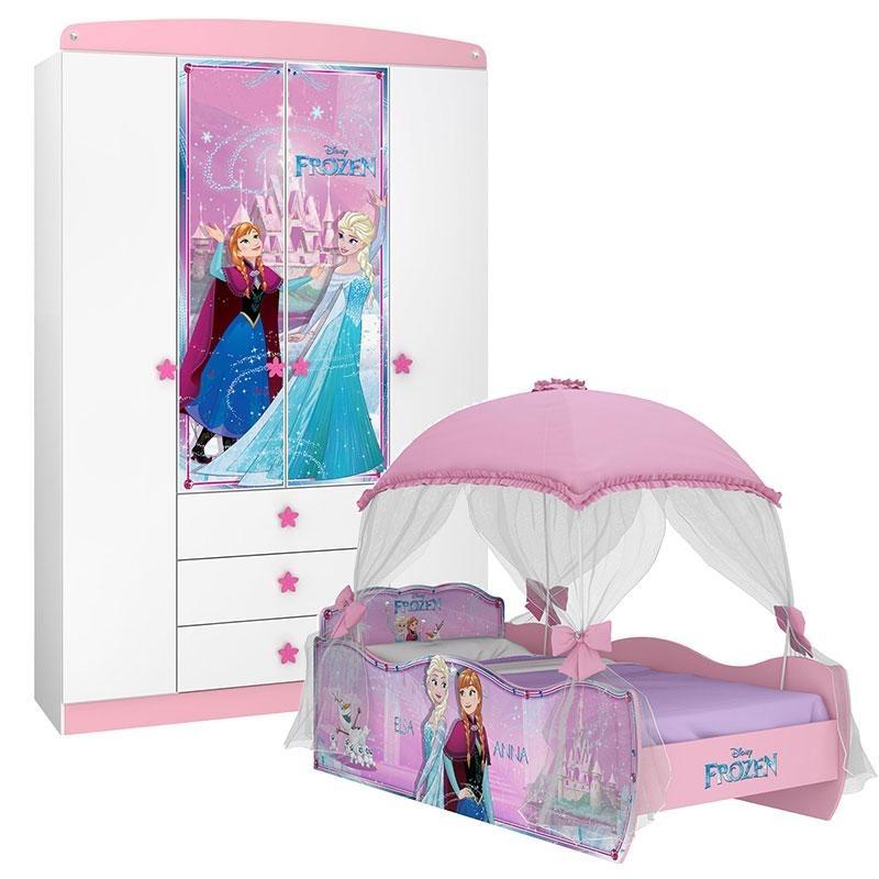 8df17ead45 cama com dossel e guarda roupa infantil frozen star disney. Carregando zoom.