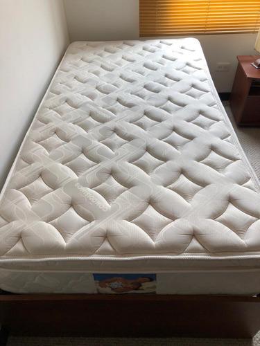 cama con base en madera colchon comodisimo 100 cm sencilla