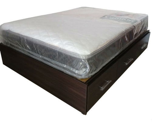 cama con cajones  box somier melanina con cajonera !!