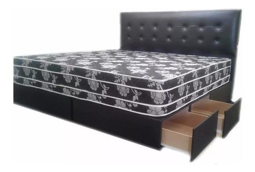 cama con cajones king size + respaldo envios a todo el pais