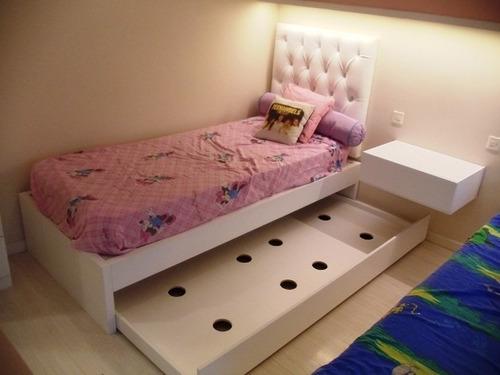 cama con carro 1 plaza madera dormitorio forbidan muebles