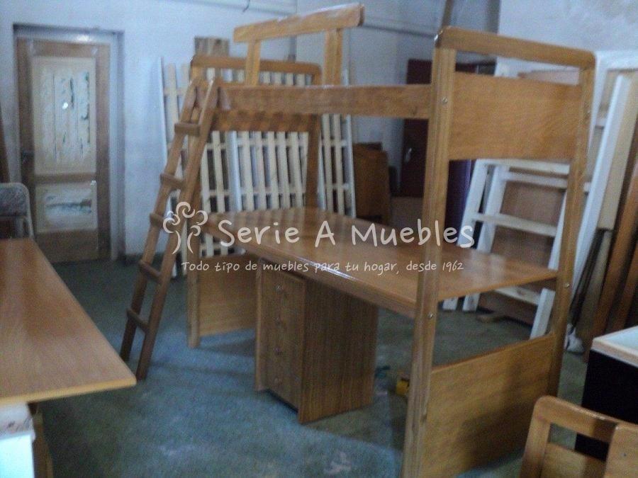cama con escritorio debajo mas cajonera en madera maciza