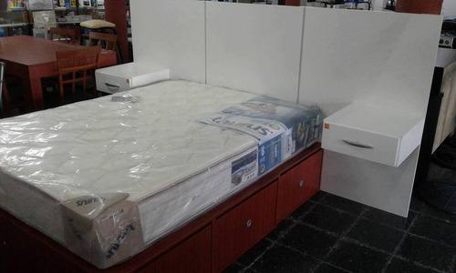 cama cubo 2 plaza 1/2 6 modulos cajones mogno (armado)