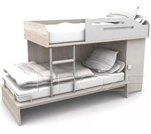 cama cucheta 1 plaza 1/2 + ropero laqueado - proze s45