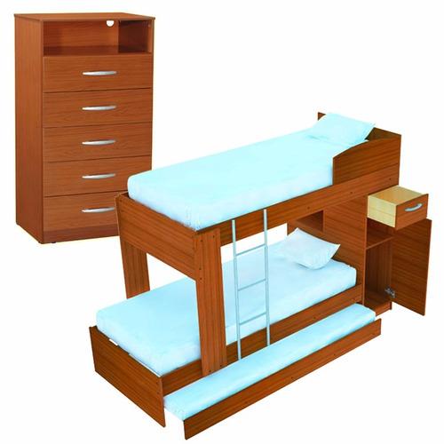 cama cucheta 1 plaza triple triliche + chifonier mosconi