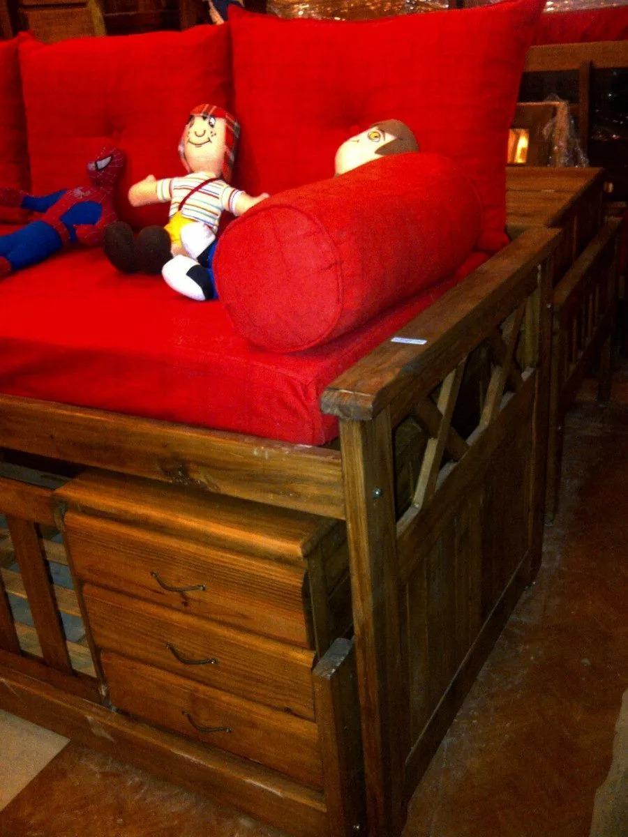 Cama Cucheta Con Cuna Funcional Nido Muebles Infantiles 5 800  # Muebles Tigre Infantiles