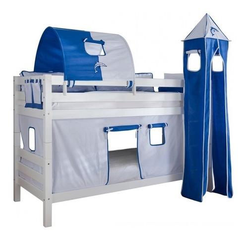 cama cucheta doble infantil 1 p revestida carpa torre tunel